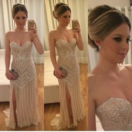 strapless silver rhinestone evening dress 2019 - Gold Luxury Beading Rhinestone Evening Gowns Sweetheart High Split Sheath Prom Dresses Celebrity Wear Pageant Gowns chea