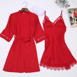 ae2b7a521d New Red Women Sexy Satin Robes Casual Robe nightie Set Lingerie Female  Kimono Bathrobe Gown Lace Sleepwear Nightwear M-xxl