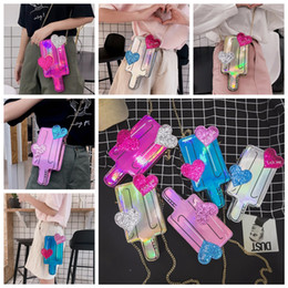 Discount popsicle cartoon - 5styles Popsicle Chain Hologram Shoulder Bags laser pouch cartoon Love Ice Fashion Bags Messenger Bag Clutch cute fashio