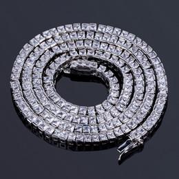 """China Square Baguette Cubic Zirconia Cz Tennis Long Chain Hip Hop Men's Chain 20"""" 24"""" 30"""" Long CZ Bling Wedding Engagement Necklace cheap hip hop chains diamonds suppliers"""