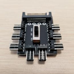 Speed Controller 12v Australia - SATA 1 to 8 Multi Way Splitter Cooling Fan Hub 3Pin 12V Power Socket PCB Adapter 2 Level Speed Controller for PC DIY
