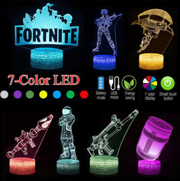 lamp training 2018 - FORTNITE 3D Lamp LED Night Light 7 Color USB Touch Table Desk Lamp With Crack Pattern Base Kid Gift Game Night Light OOA
