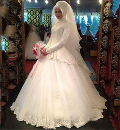 $enCountryForm.capitalKeyWord Canada - Modest Lace Ball Gown Muslim Wedding Dresses with Long Sleeve Court Train White Tulle Corset Bridal Gowns