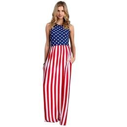 1f70068970ec 2018 Summer Plus Size Sundress Women Stars and Stripes Long Dress  Sleeveless Elastic Waist Side Pockets Casual Tank Maxi Dress