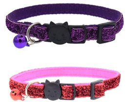 quick release collar NZ - Adjustable breakaway Glitter Quick Release Safety Buckle Kitten Cat Collar Puppy Dog Collars With Bell For Small Dogs Cats