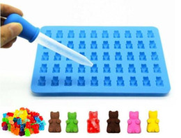fondant bear mold Canada - 50 Cavity Gummy Bears Silicone Mold Hard Silicone Candy Chocolate Dessert Mold Fondant Cake Decorating Baking Tool F0192