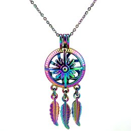 $enCountryForm.capitalKeyWord Australia - C789 Rainbow Color Dream Catcher Compass Beads Cage Pendant Essential Oil Diffuser Aromatherapy Pearl Cage Locket Pendant Necklace