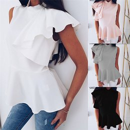 plus size sleeveless blouses collar 2019 - 2018 Fashion Summer Ruffle Sleeveless Shirt Women Vintage White Office Blouse Female OL Work Tops Plus Size Women Blouse