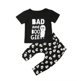 girls skull t shirt 2019 - 2018 Newborn Baby Boys Girls Skull T-shirt Tops Pants Outfit Clothes Halloween Size 0-24M cheap girls skull t shirt