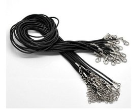 Discount black steel wire necklace - Woven Necklace 120pcs Black Leather Snake Necklace Beading Cord String Rope Wire 45cm Extender Chain with Lobster Clasp