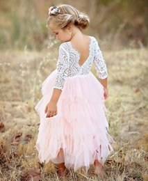 Dress camellia online shopping - Girls Backless Lace dresses Tutu Luxury Party Princess dress Camellia Long sleeve Layers Girls clothing Pink White