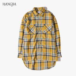 $enCountryForm.capitalKeyWord Canada - High Street Yellow Plaid Long Sleeve Shirt Tide Men Fashion Front Short Back Long Loose Shirt High Quality Youth Urban Clothes