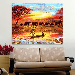 Framework DIY Canvas Painting Home Decoration Wall Art Prairie Elephants Modular Acrylic Handpainted By Numbers For Gift Picture