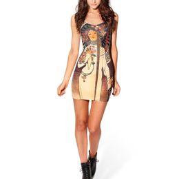 Chinese  2018 New Retro Sexy High Quality Printed Tight Vest Slim dress Short Trend Milk Silk Popular style Latra Pupa nun pattern dress manufacturers