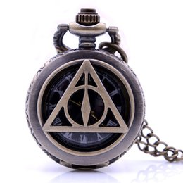 Discount mens black pendant - Bronze Harry Potter and the Deathly Hallows Character Dial Quartz Pocket Watch Analog Pendant Necklace Mens Womens Watch