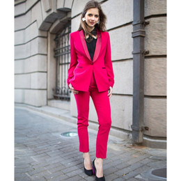 Womens Grey Jackets Canada - New Women's Suits & Blazers fuchsia formal pant for weddings womens business suits female trouser suits womens tuxedo Jacket+Pants