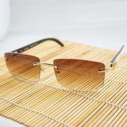 PrescriPtion sunglasses online shopping - Luxury Rimless Sunglasses Genuine Horn Glasses Men Buffalo Horn Sun Glasses Male Prescription Pure White Oculos Shades
