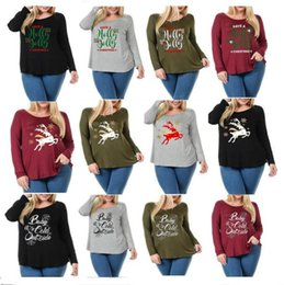 66028dae971 Women Autumn Christmas T-shirt Elk Deer Letter Print Shirts Pullover Long  Sleeve Sweatshirts Round Neck Oversized Top Tees Home AAA1195