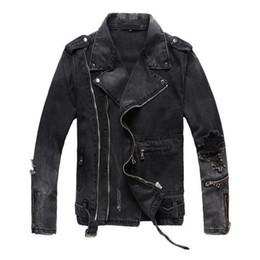 $enCountryForm.capitalKeyWord Australia - New Fashion Hi Street Mens Ripped Denim Jackets With Multi Zippers Streetwear Distressed Motorcycle Biker Jeans Jacket