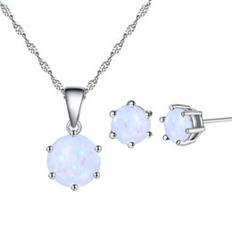 gold set jewelry for children 2019 - Europe and America Hot Selling 18K White Gold Plated Opal Earring Necklace Jewelry Set for Children Girls Women Nice Gif