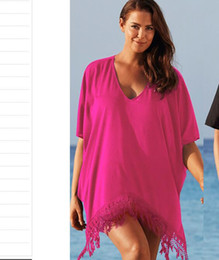 $enCountryForm.capitalKeyWord NZ - Sexy Swimwear Bikini Lace Beach Cover Up Rose Swimsuit Cover Up Fashion Women Beach Wear Hollow Knit Swimsuit Casual Dresses