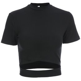$enCountryForm.capitalKeyWord UK - Focal20 Streetwear Women Sexy Hollow Out T Shirt Cropped Slim T Shirt Summer Fashion Short Sleeve Crop Top For Women