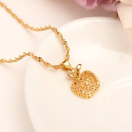 Discount solid gold heart pendant necklace solid gold heart dubai india gold apple heart women ethiopian pendant necklace 18 k fine gold solid gf jewelry flower party wedding gifts aloadofball Images