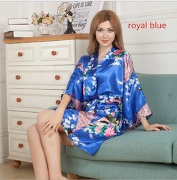 Silk Sleeping gownS online shopping - Amazing Women Dresses Silk Floral  Printing Robe Single Short Kimono 06f7bf7a65fc