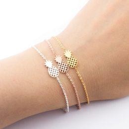 $enCountryForm.capitalKeyWord Australia - Rose Gold Tropical Tiny Pineapple Charm Bracelets & Bangles For Women Men Stainless Steel Trendy Jewelry Valentines Day Gift