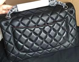 26bf10677e Women Handbags Factory Sell Brand 30cm New Jumbo Lambskin Double Flap Bag W  Silver Hardware Black Maxi Genuine Leather Gold Chain Flap Bag