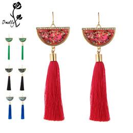 cb25c3df40db Estilo Kendran Fashion Gold Filled Party Pendientes Shell En forma de  colorido borla larga cuelgan pendientes de boda Joyas de cristal