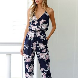 3780087e76bd Summer loose Women fashion jumpsuit Backless Sleeveless V-Neck Floral  Printed long Playsuit Bohemian style daily romper