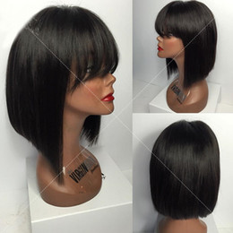 $enCountryForm.capitalKeyWord NZ - Short Bob Lace Wigs With Bangs Brazilian Virgin Hair Straight Lace Front Human Hair Wigs For Black Women Swiss Lace Frontal Wigs