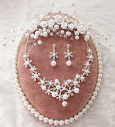 wholsale jewelry NZ - clay flowers pearl crystal bridal jewelry sets necklace earrings tiara jewelry sets for brides tiara wholsale