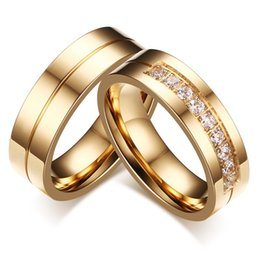 $enCountryForm.capitalKeyWord NZ - Wedding Bands Rings for Women   Men Love Gold-color 316L Stainless Steel CZ Promise Jewelry Hot Sale in USA and Europe Free Shipping