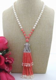 "$enCountryForm.capitalKeyWord NZ - N071303 20"" White Pearl Pink Coral Necklace CZ Pendant"