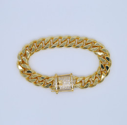Chinese  high quality micro pave AAA CUBIC ZIRCONIA WIDE cuban link chain bracelet Gold color hip hop bling mens jewelry bracelets manufacturers
