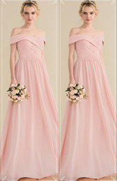 $enCountryForm.capitalKeyWord Australia - Pretty Blush Pink Off Shoulders Bridesmaid Dress Ruched Long Chiffon Empire Beach Cheap Prom party Evening Dresses maid of honor dresses