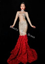 Discount evening women costume - Silver Crystals Dress Red Flower Long Train Women Evening Costume Prom Celebrate Big Tail Dresses Women Party Wear Dress