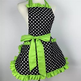 Cute aprons poCkets online shopping - New Design Fashion Sexy Aprons Cotton Cute Bib White Dots Kitchen Cooking Women Apron Dress With Pocket Gift