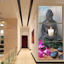 Piece Abstract Canvas Wall Prints NZ - Canvas Pictures Modular Wall Art Frame Decor 3 Pieces Buddha Statue Abstract Paintings Living Room HD Prints Buddhism Zen Poster