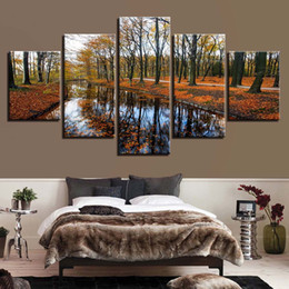 $enCountryForm.capitalKeyWord NZ - HD Canvas Painting Frame Wall Art Poster 5 Panel Forest Tree Landscape For Living Room Modern Printed Pictures Home Decor