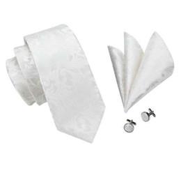 $enCountryForm.capitalKeyWord UK - SN-1163 New Brand Ties Novelty White Color Tie Hanky Cufflinks Set 100% High Quality Silk Men's Neck Tie Factory Price