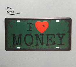 Dl I Love Money Vintage License Plate Crafts Metal Signs Wall Prints Man Cave Signs