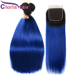 Discount colored 22 inch weave - Cheap 1B Blue Peruvian Virgin Straight Ombre Human Hair Bundles With Closure Colored Blue 100% Hand Tied Lace Closure An