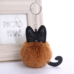 gray hair red NZ - Cat Hair Ball Keychains Colorful New Pattern Keyrings Women Fashion Gift Car Bag Keychain Popular Jewelry Wholesale