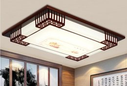 $enCountryForm.capitalKeyWord NZ - New Chinese scorpion pine wood art led ceiling lamp atmospheric rectangular living room bedroom room solid wood embossed led light