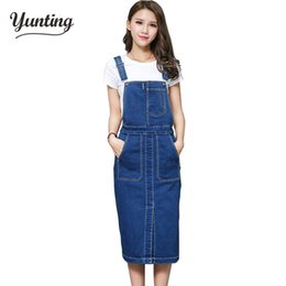 184215114b Vintage 2018 Slim Sweet Jeans Dress Women Washed Short Suspender Denim  Sundress Denim Overall Dress Free Shipping