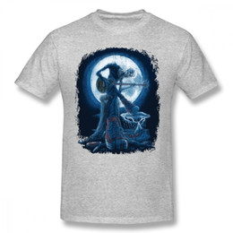 blue moon t shirts Canada - Men's Round Collar Full Moon Shines T Shirt On Old Guitarist Blues Homme Tee Shirt Top Design For Boy Geek Men Cheap Top Tees