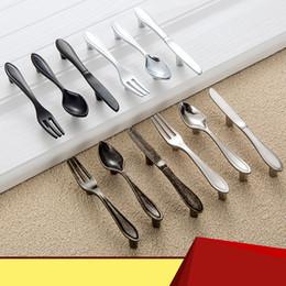 modern cabinet pull handle 2019 - Originality Handle Modern Simple Knife Fork Spoon Handles Tableware Cabinet Door Bright Silver Dumb Black Bronze Cupboar